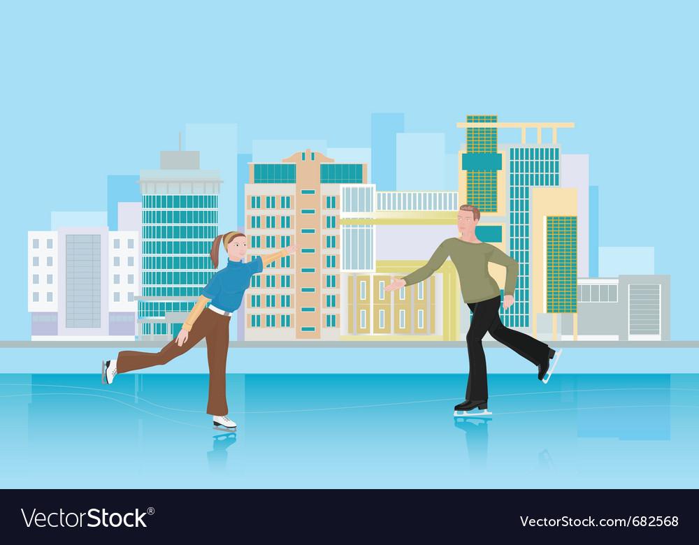 Skating city rink vector image
