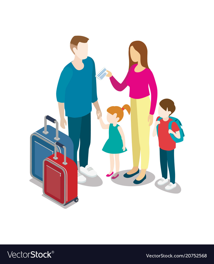 Tourist family with children and bags