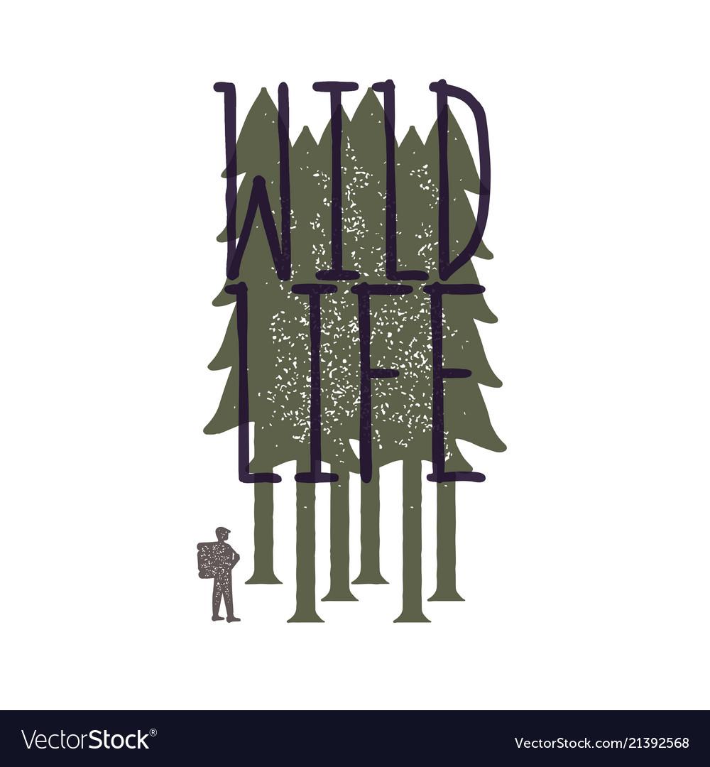 Vintage emblem of tourist-traveler in forest and