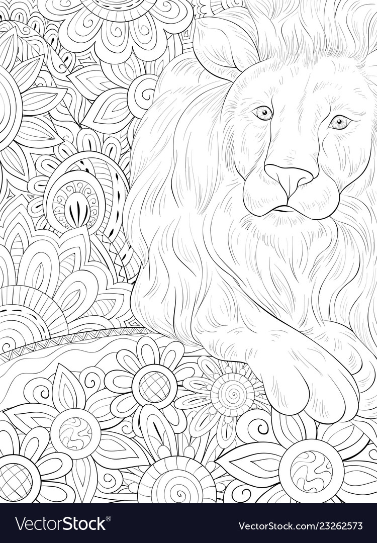 Adult Coloring Bookpage A Cute Lion On The Vector Image Disney pictures to print and colour. vectorstock