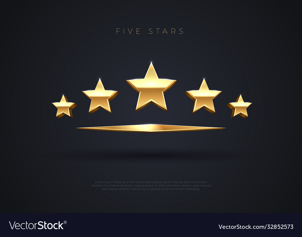 Five golden stars top quality concept rating