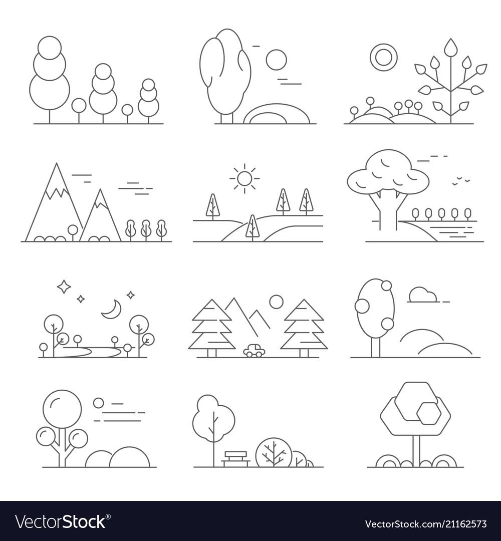 Landscape outline mono line symbols of trees and