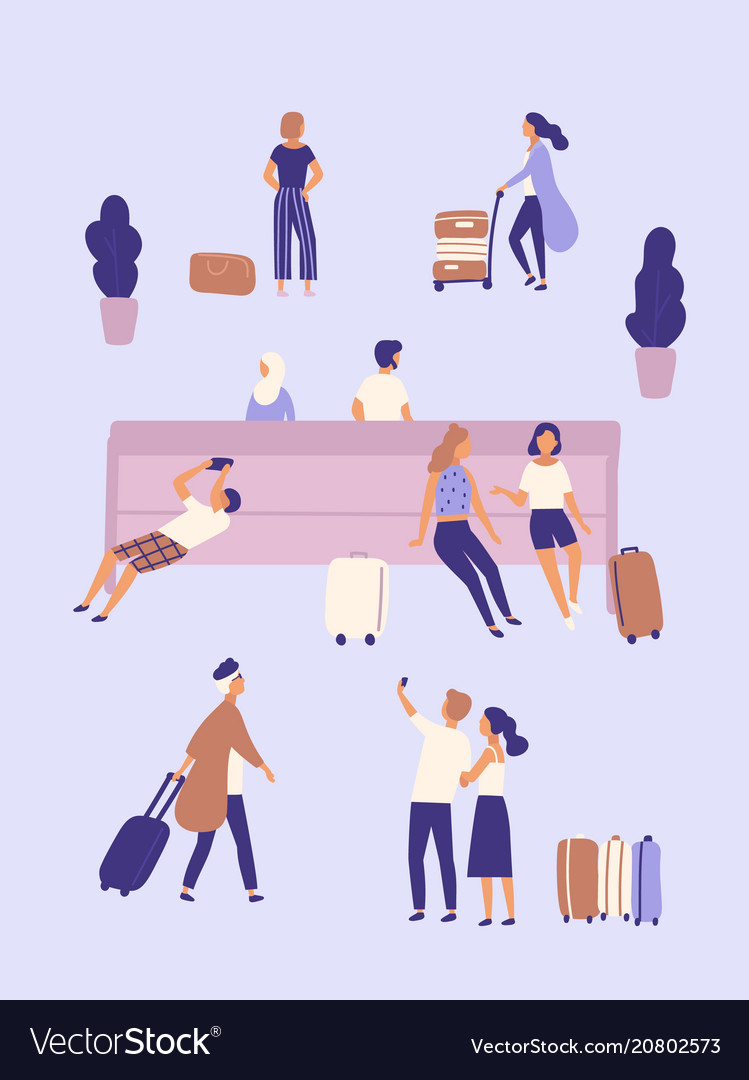Men and women with suitcases waiting at airport or