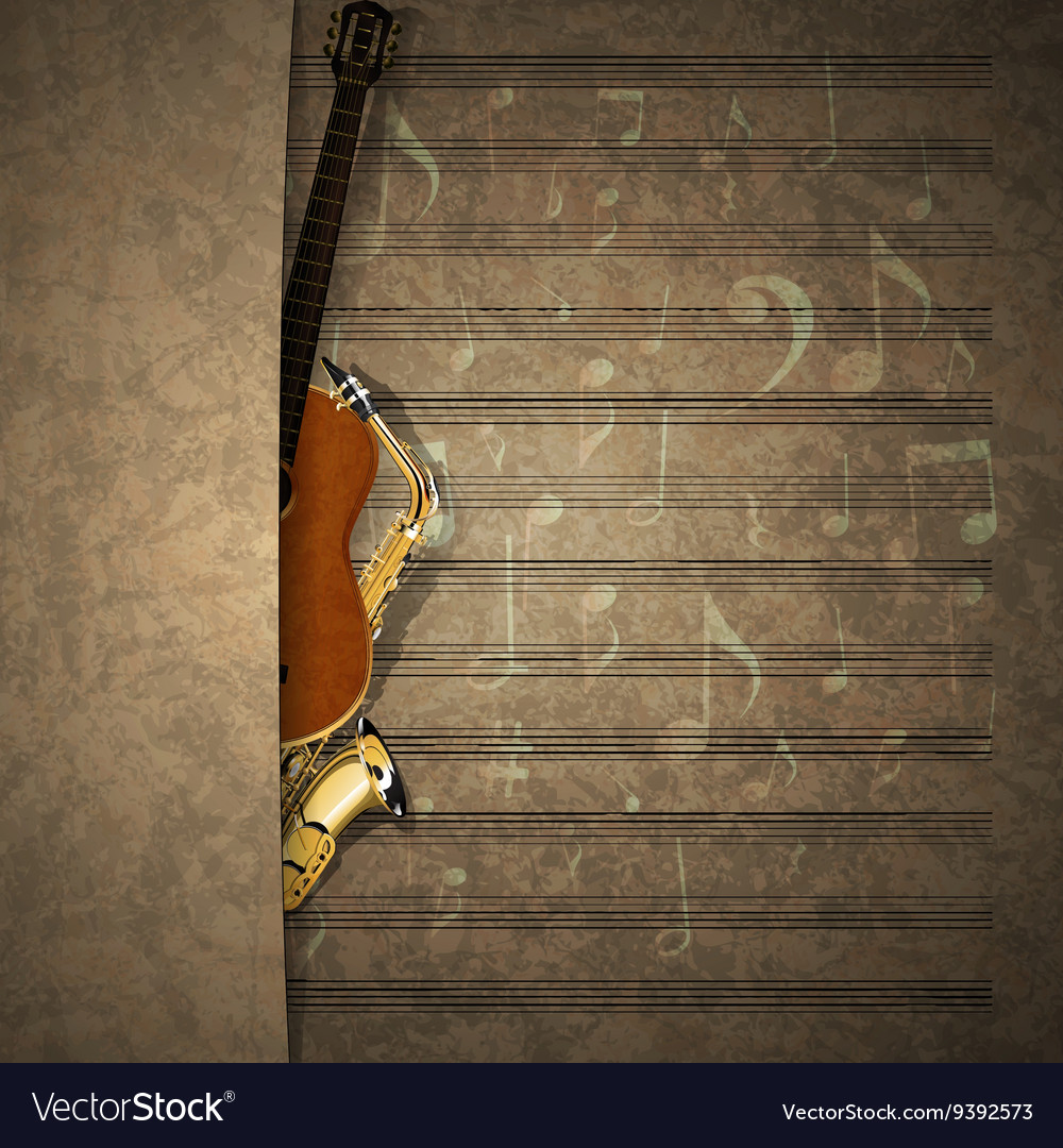 Musical background sax and guitar on sheet music