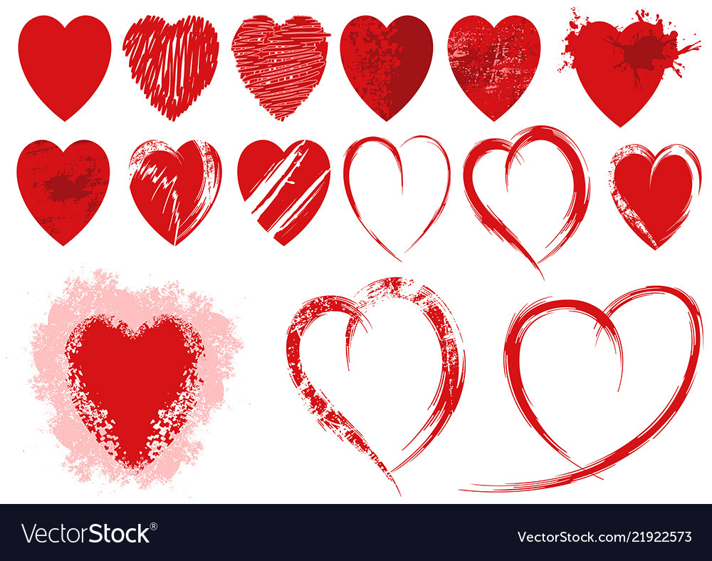 Set of red grunge heart shapes
