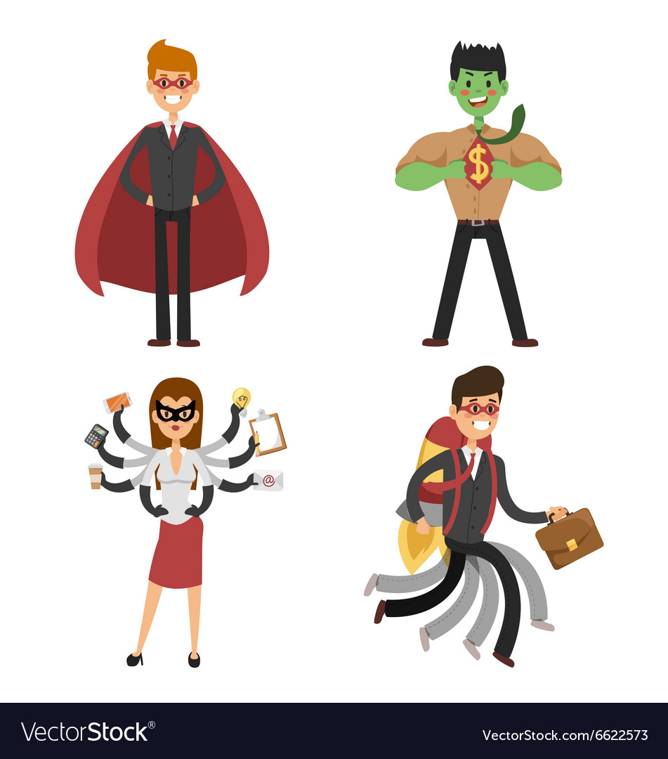 Superhero business man and woman in action