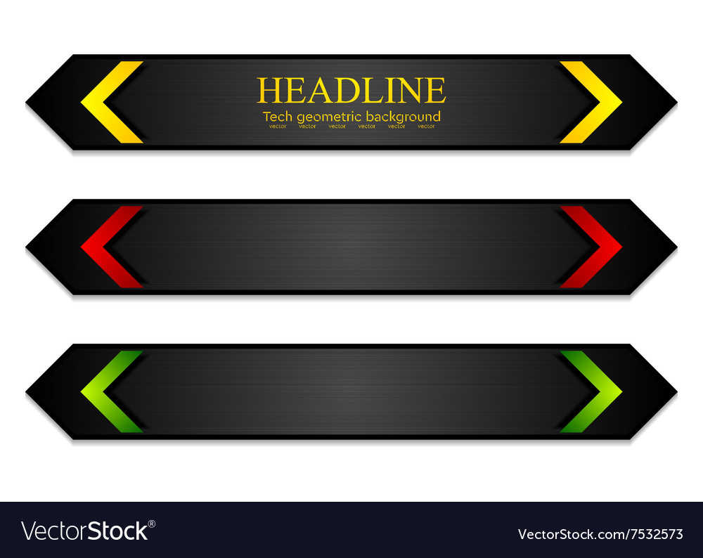 Tech corporate banners with bright arrows vector image