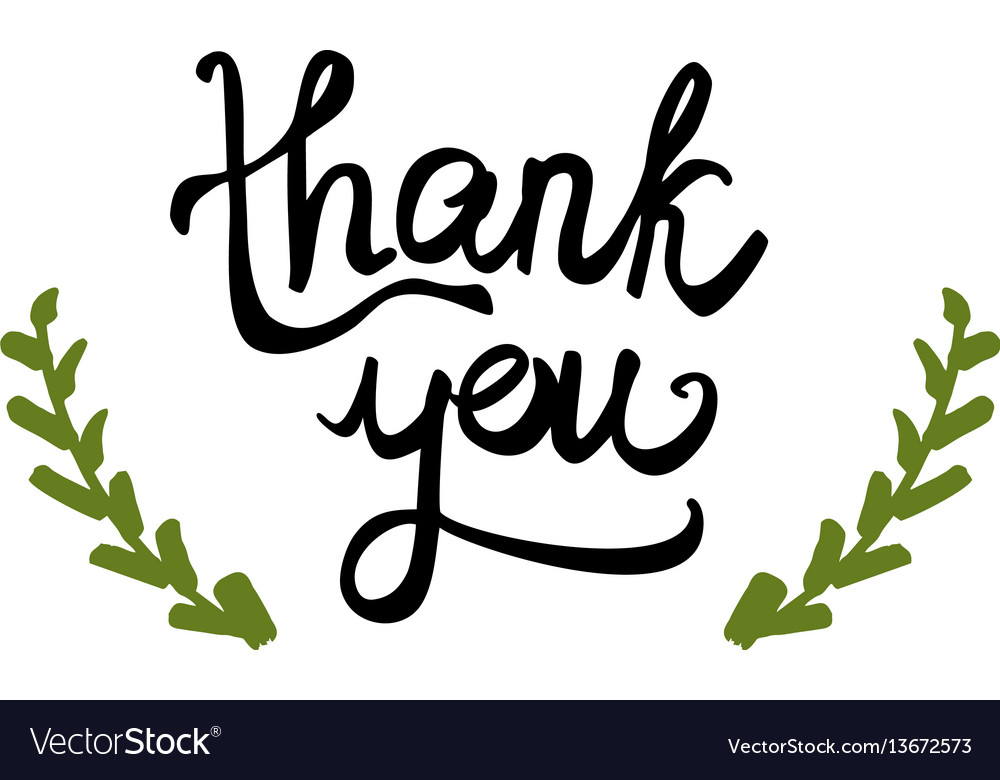 Thank you handwritten sign isolated on white