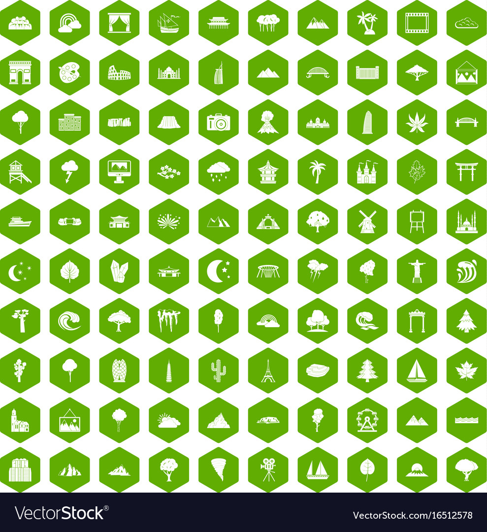 100 view icons hexagon green