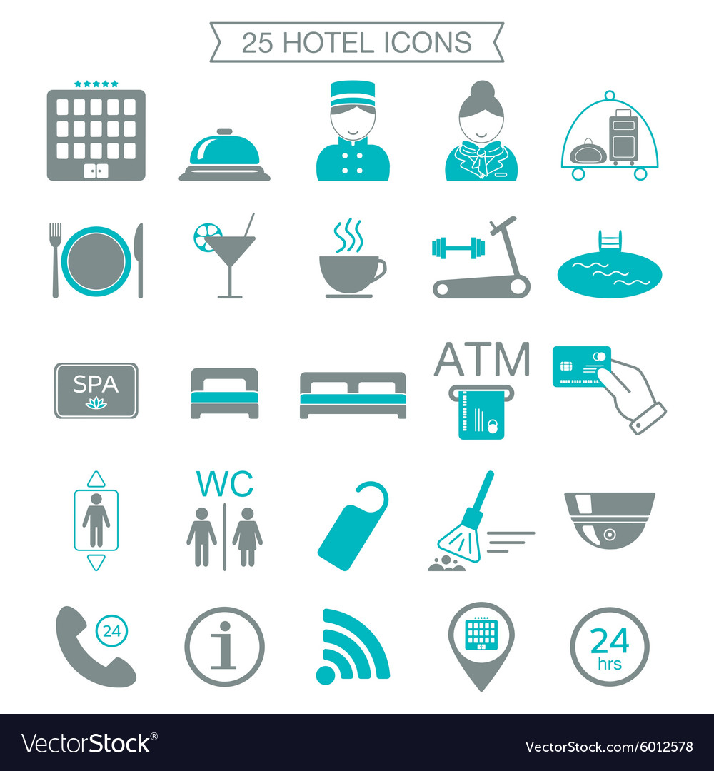 25 hotel services icons Silhouette Color block