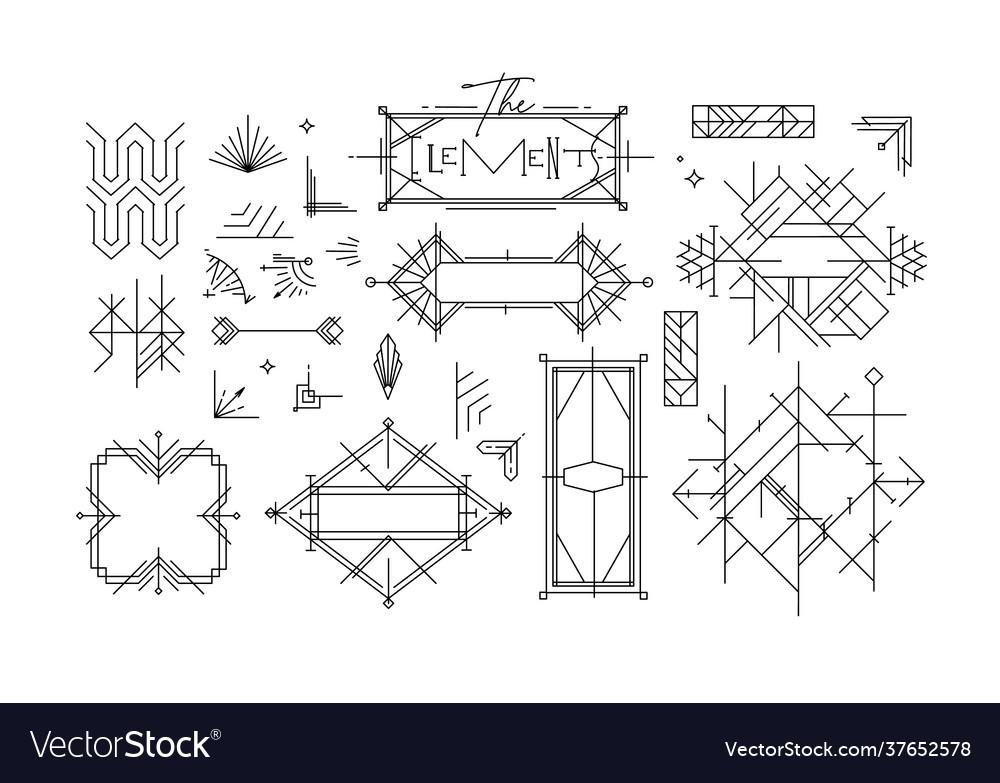 Art deco vintage design elements