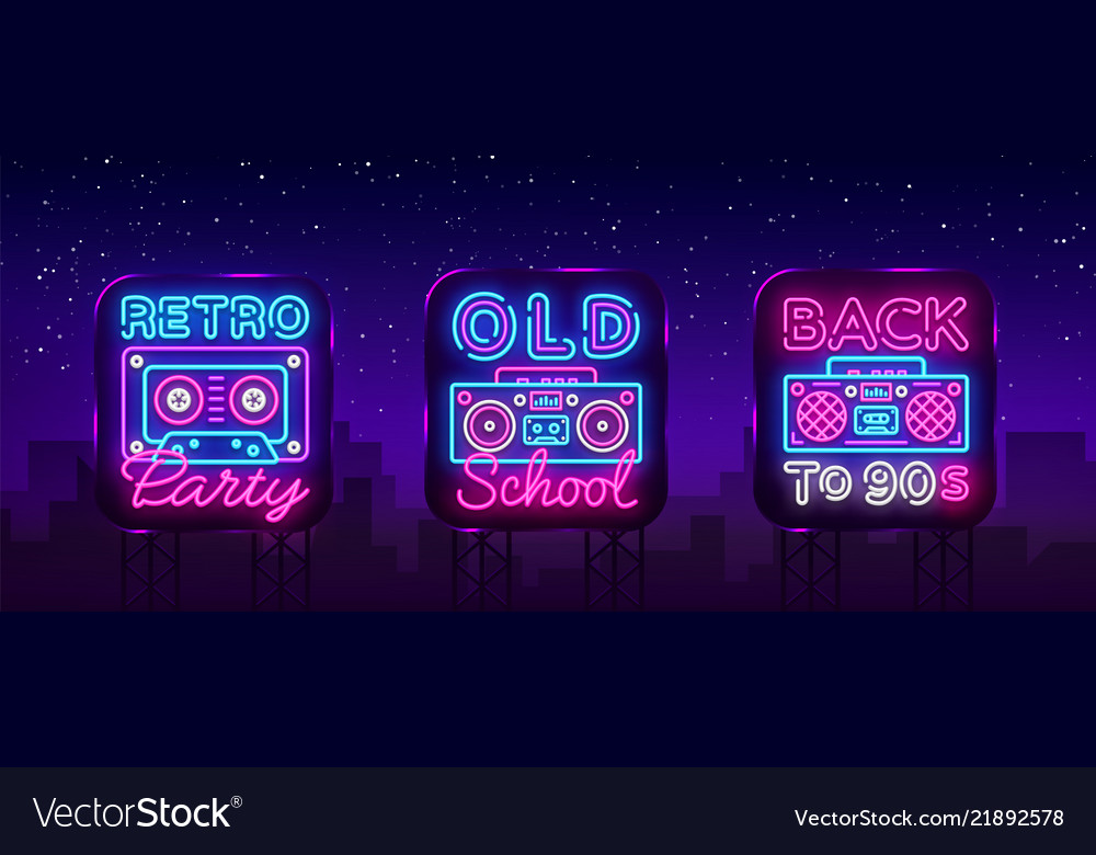Back to 90s neon poster collection card or