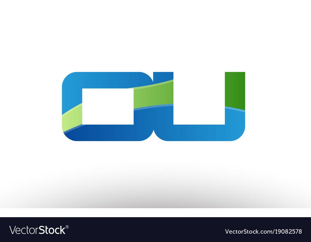blue green ou o u alphabet letter logo royalty free vector