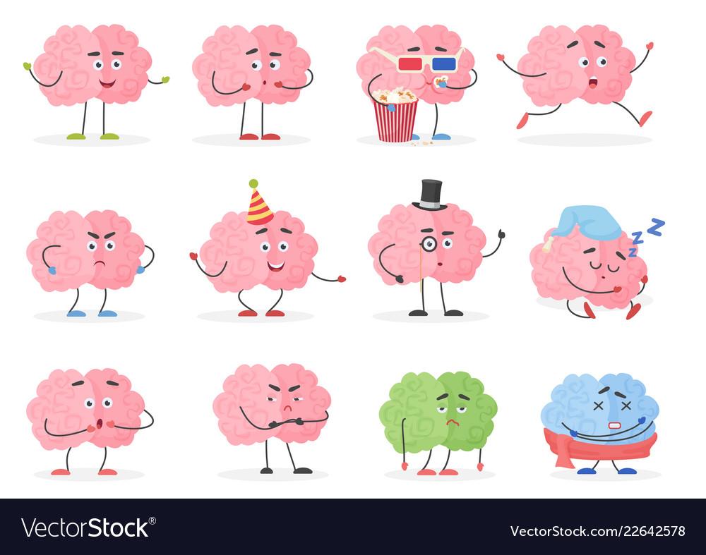 Brain character emoji emoticons set funny cartoon