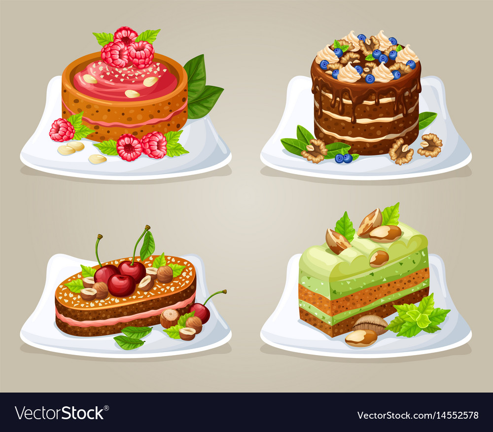 Colorful decorative cakes on plates set vector image  sc 1 st  VectorStock & Colorful decorative cakes on plates set Royalty Free Vector