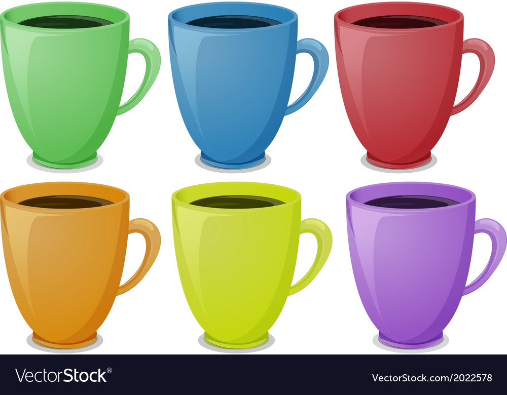 Colorful Mugs With Coffee Royalty Free Vector Image