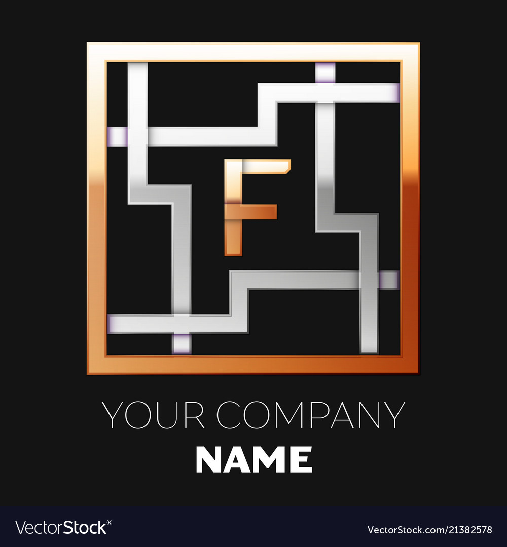 Golden Letter F Logo Symbol In The Square Maze Vector Image