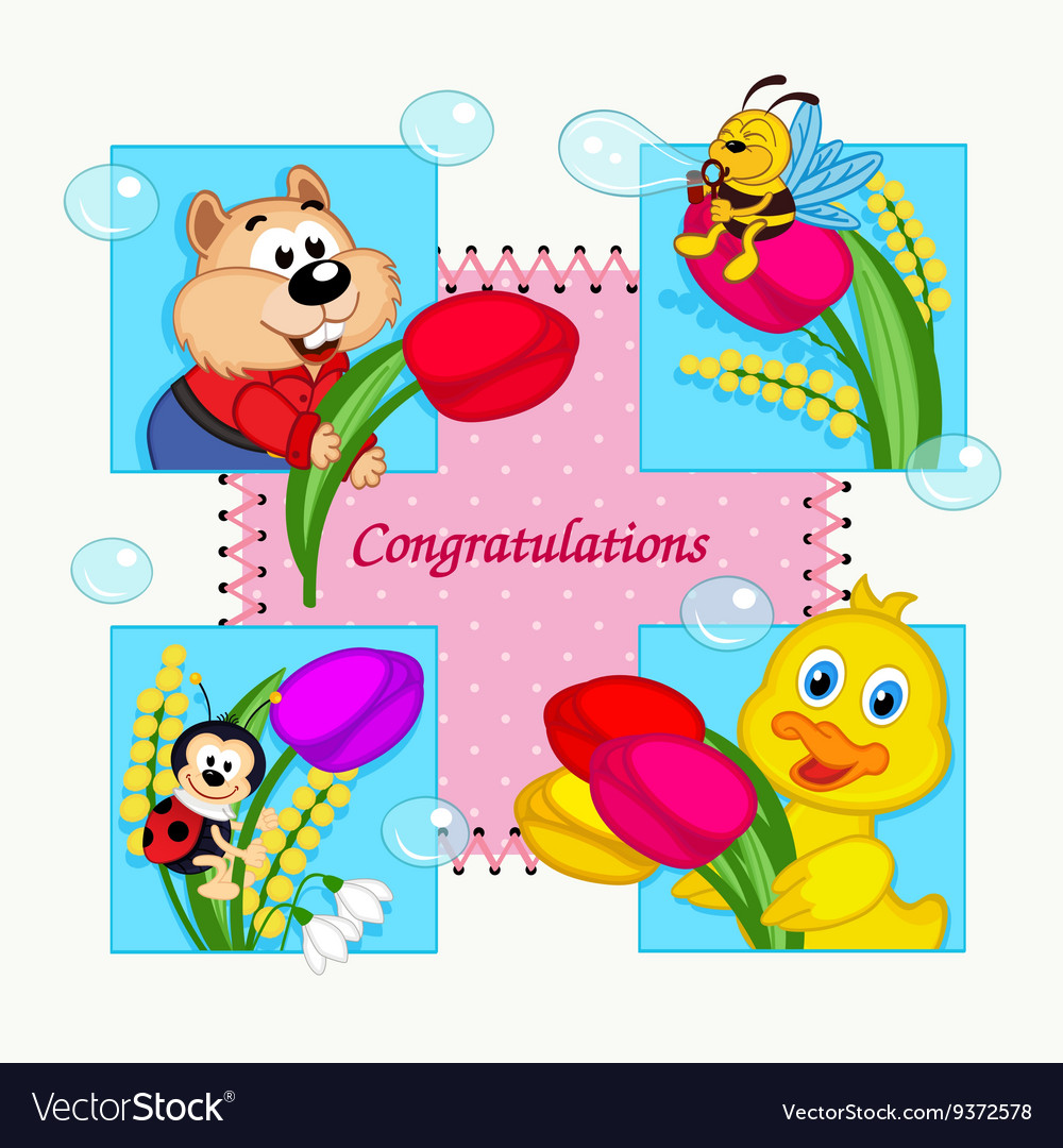 Greeting card with congratulation vector image