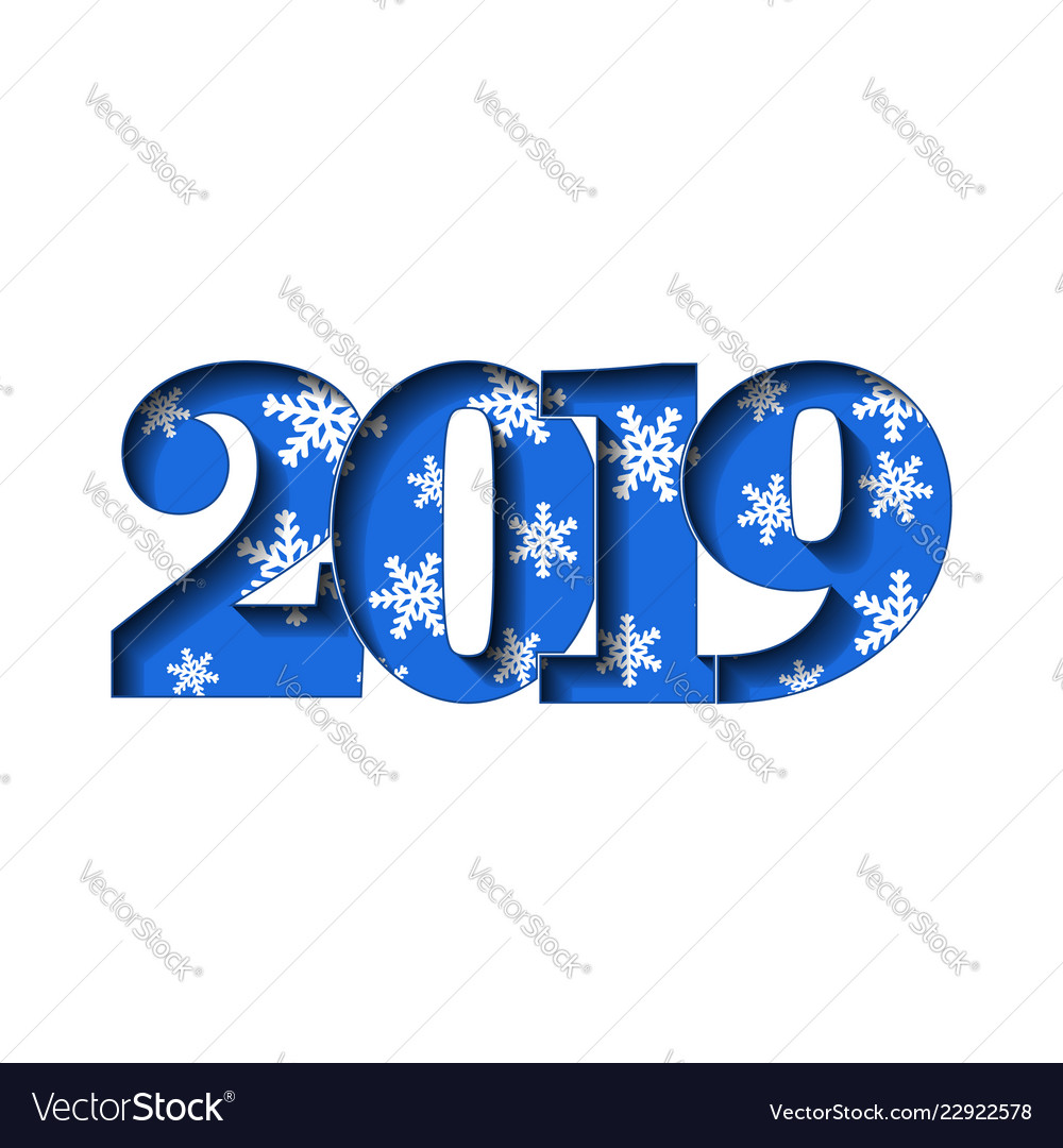 Happy new year card blue 3d number 2019 with