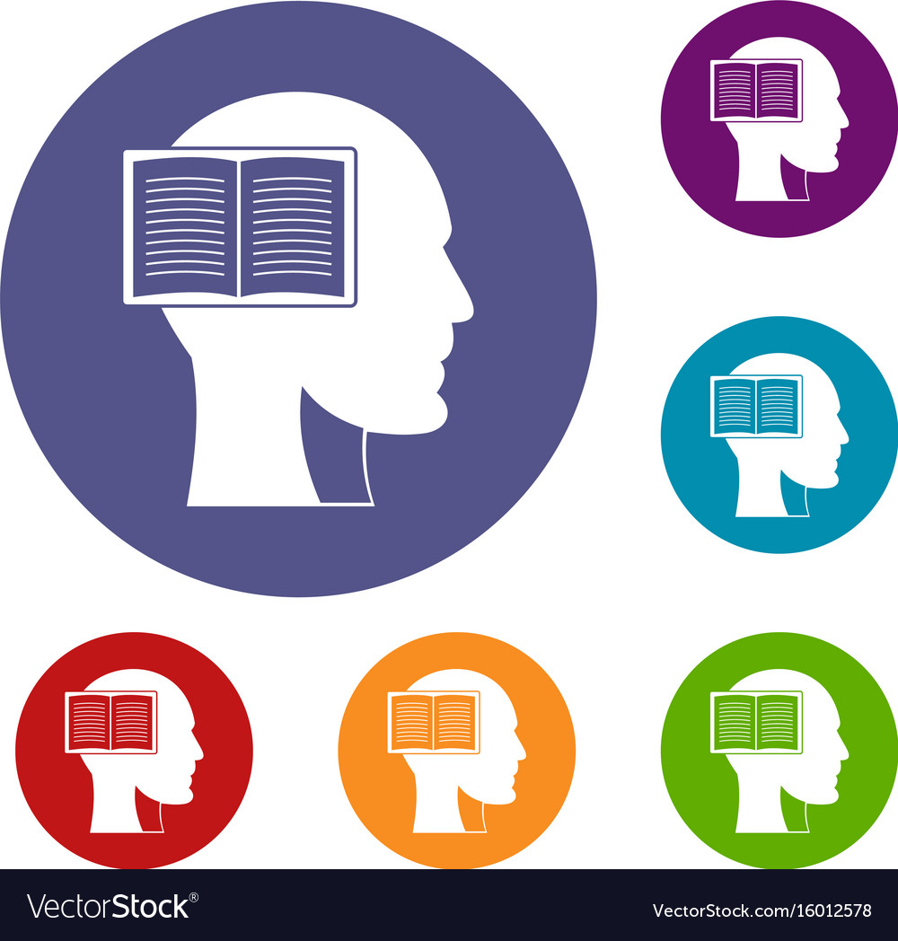 Head with open book icons set