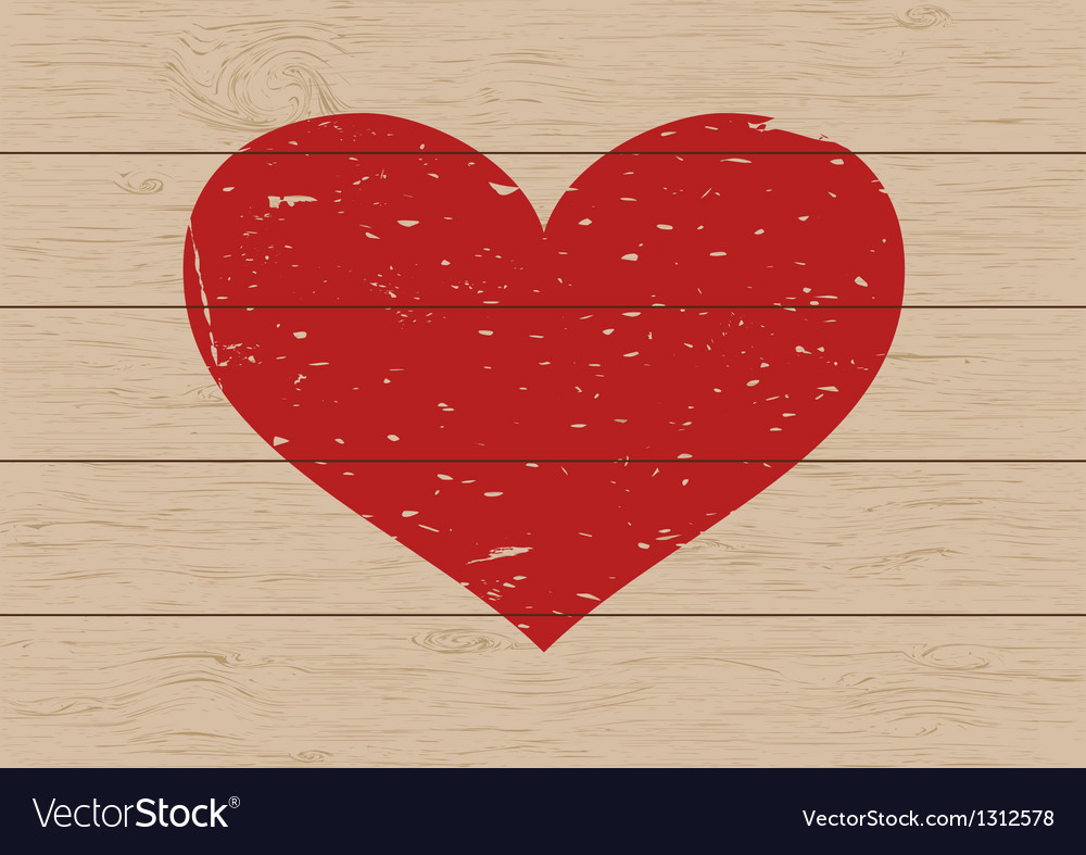 Heart on wood