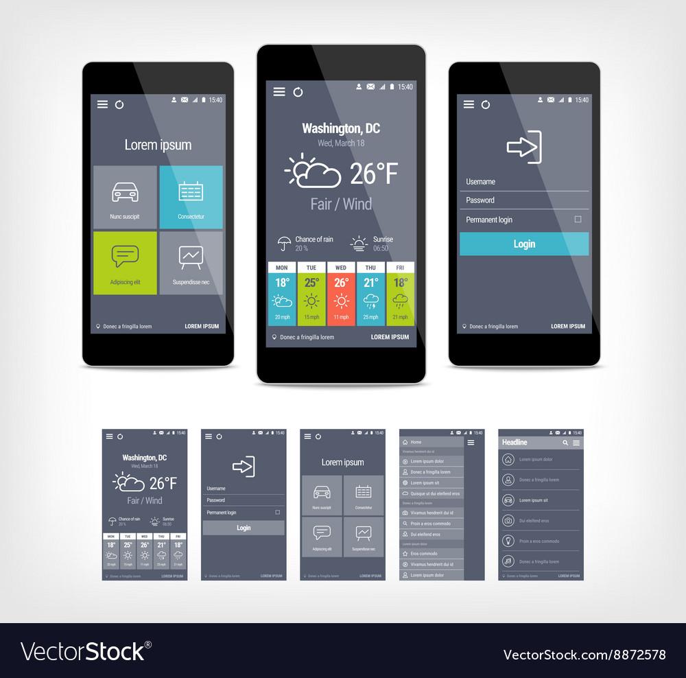 Mobile app ui set of modern design