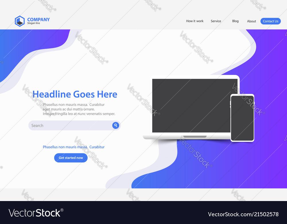 New trendy landing page website template design