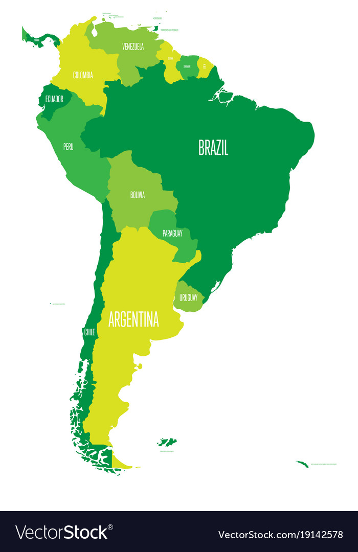 Political map of south america simple flat vector image on VectorStock