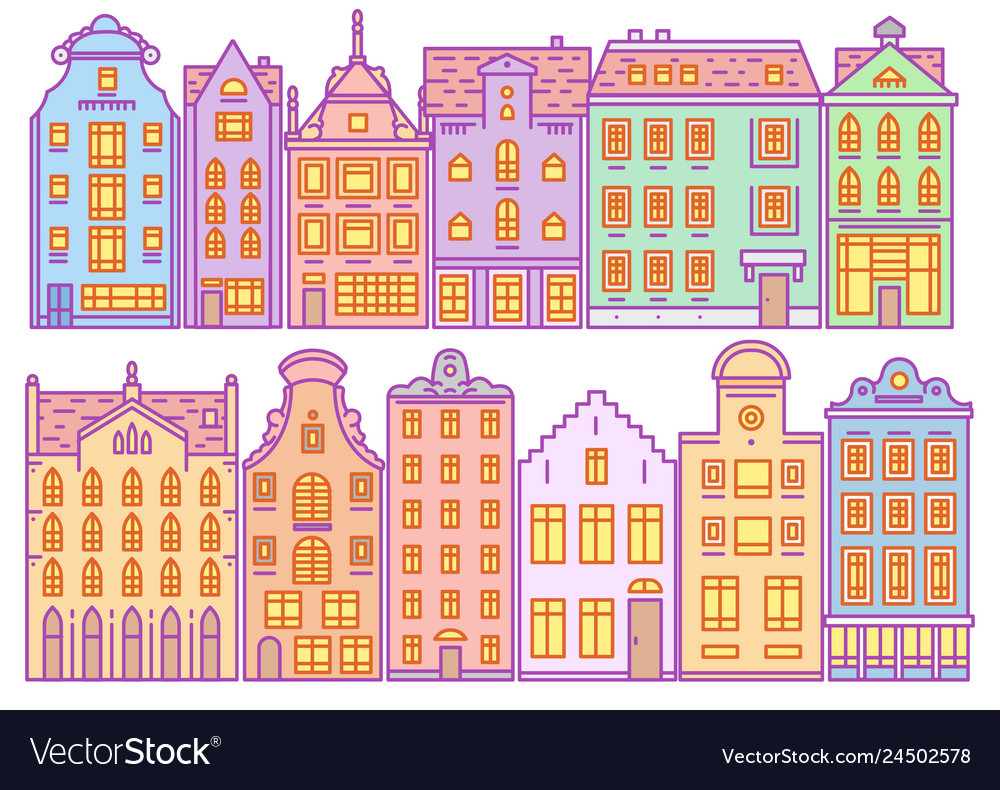 Set of europe house or apartments cute