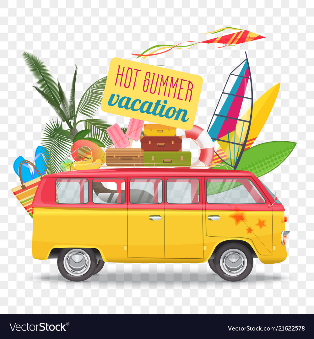 Summer travel with bus beach