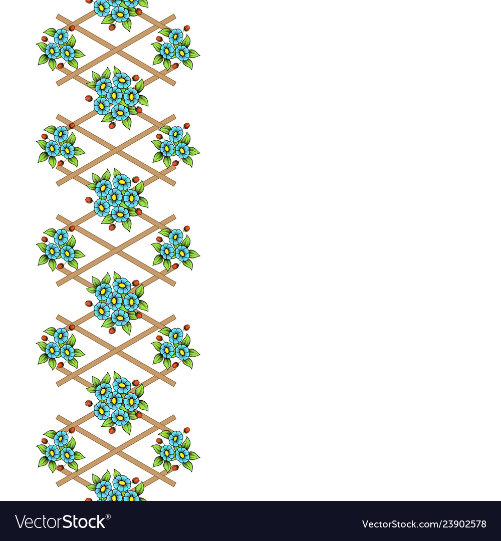 Wooden lattice with color flowers