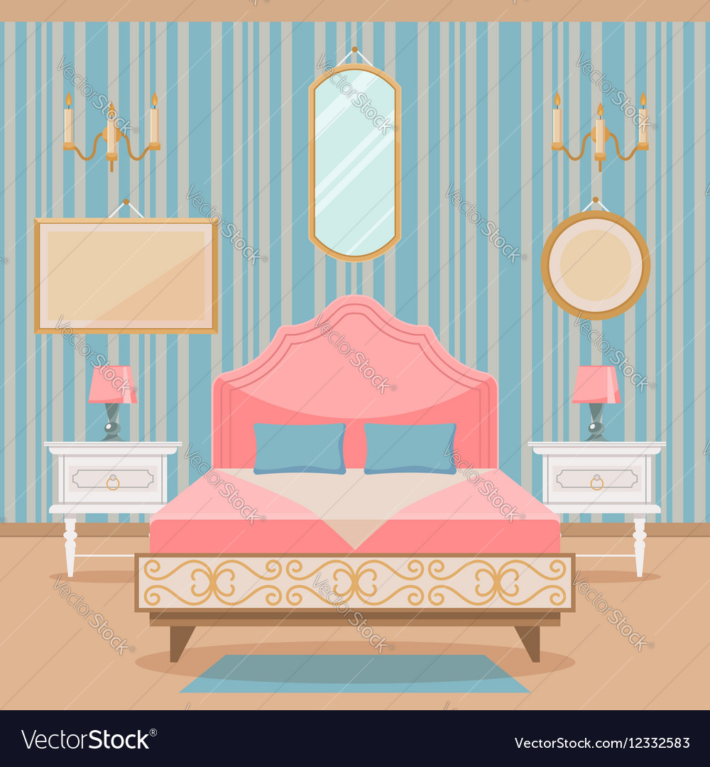 Bedroom interior with furniture in classic style vector image