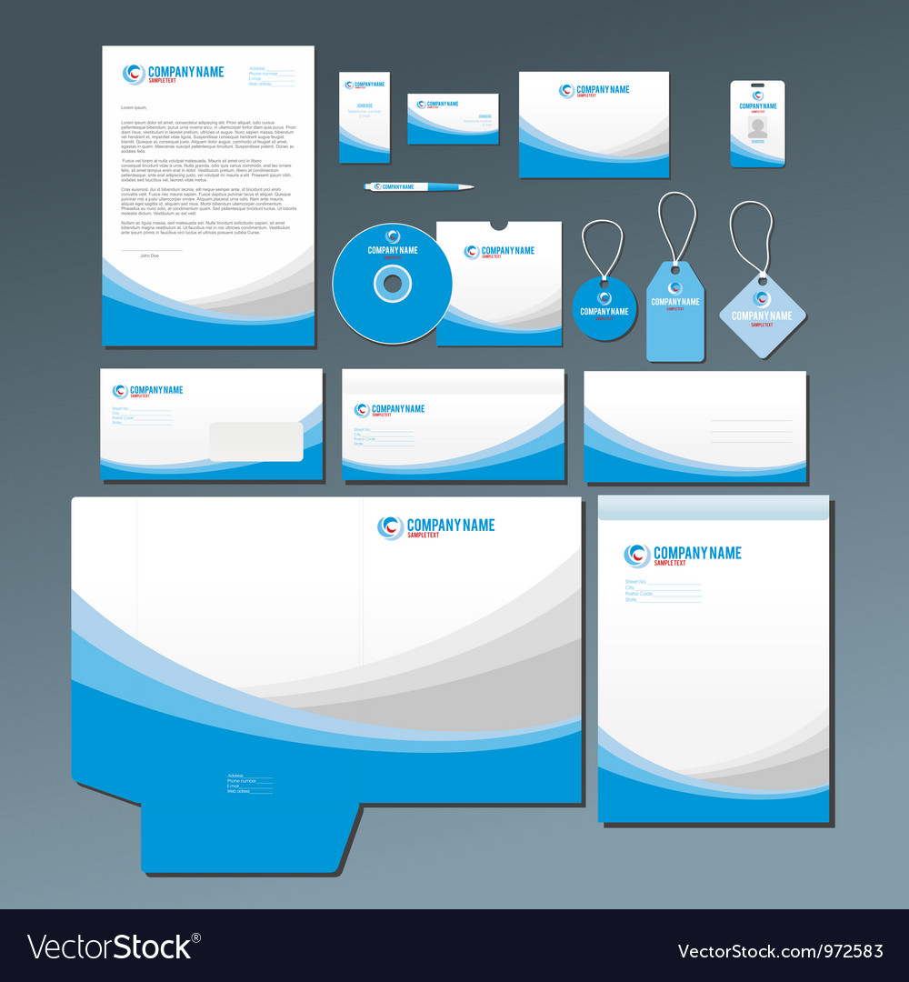 Blue stationery set vector image