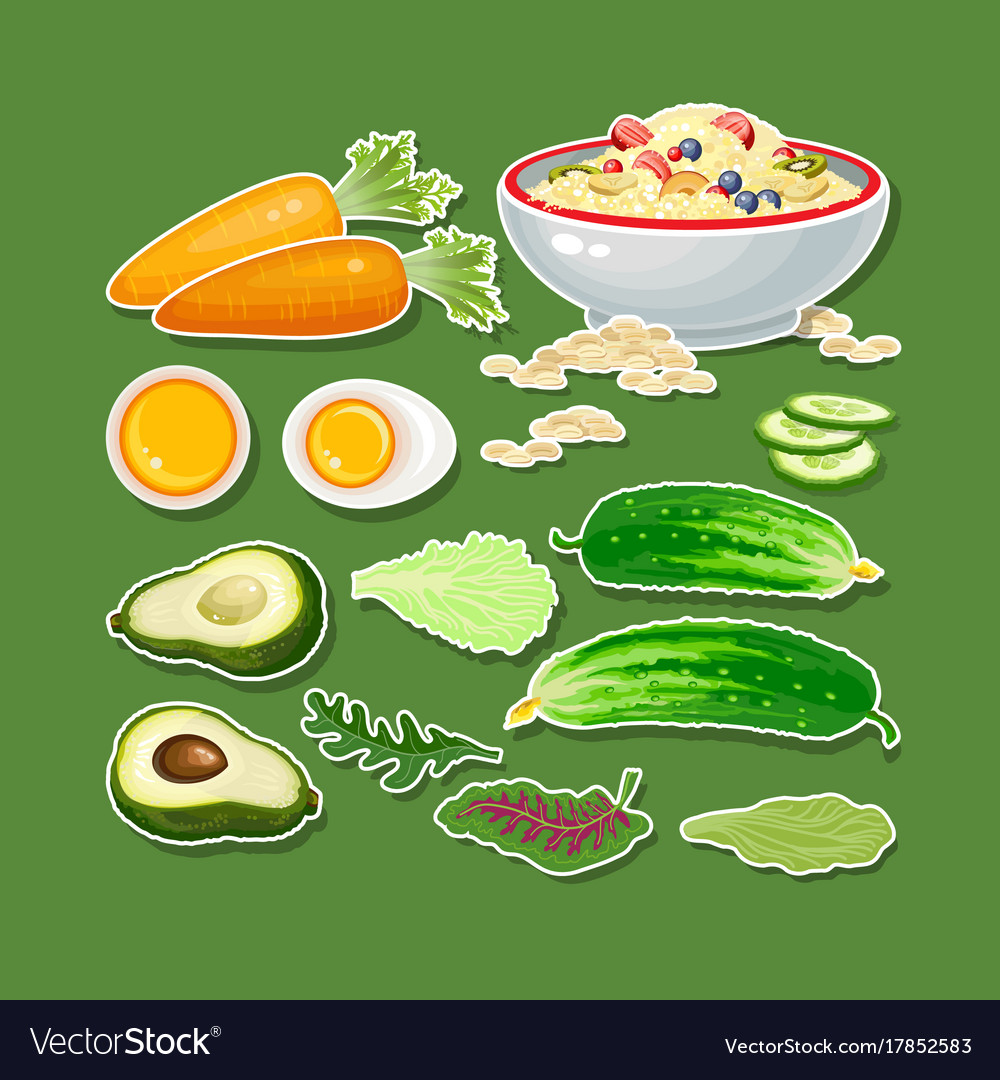 Carrot cucumber avocado egg porridge and salad