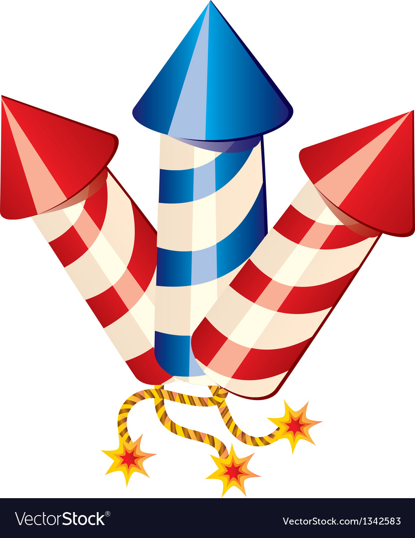 Cartoon fireworks rockets vector image