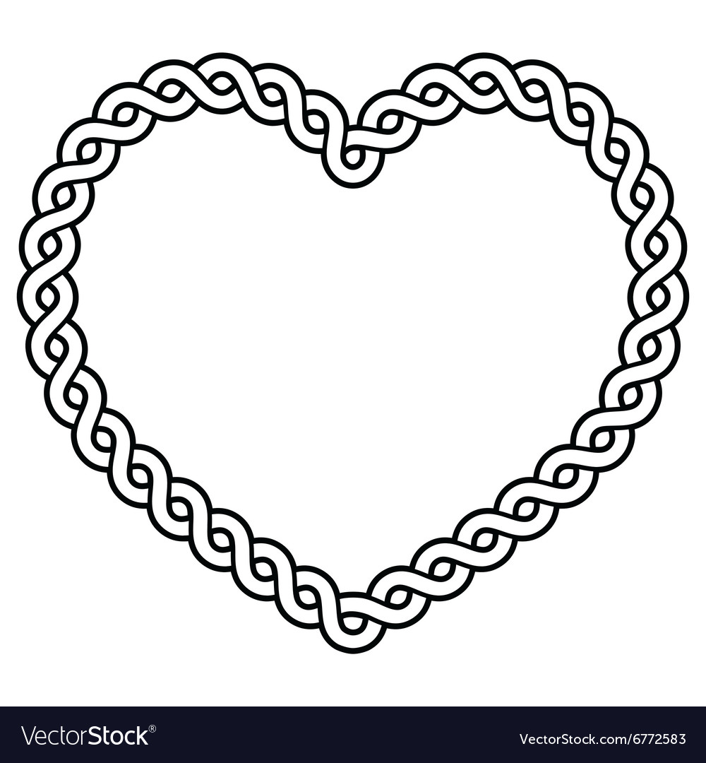 Celtic pattern heart shape - love concept vector image