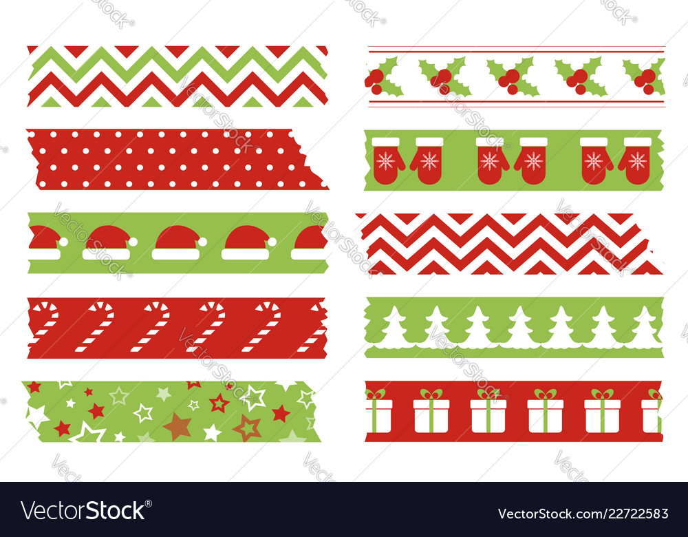 Christmas washi tapes set template