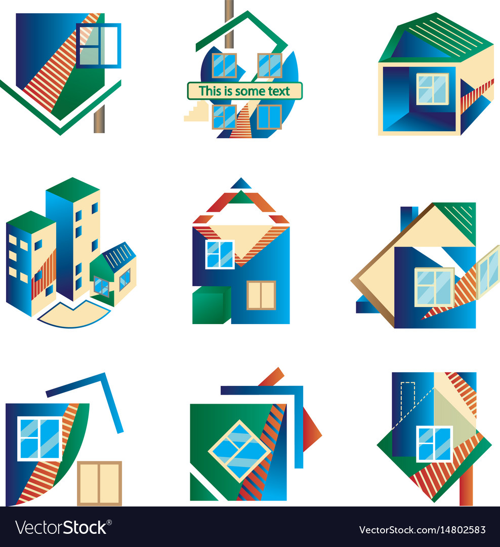 Colored logos in the form of houses