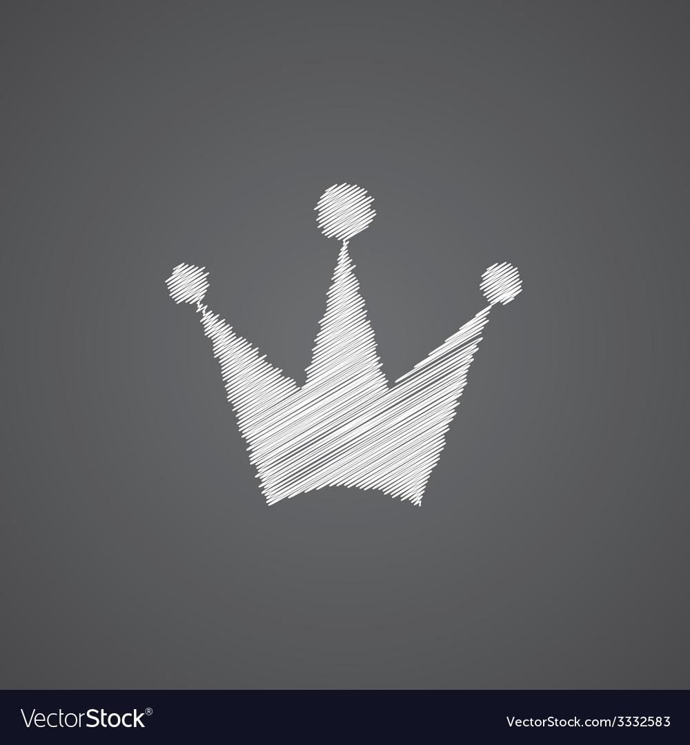 Crown sketch logo doodle icon vector image