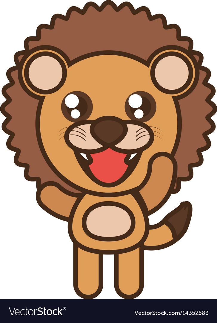Cute lion toy kawaii image vector image