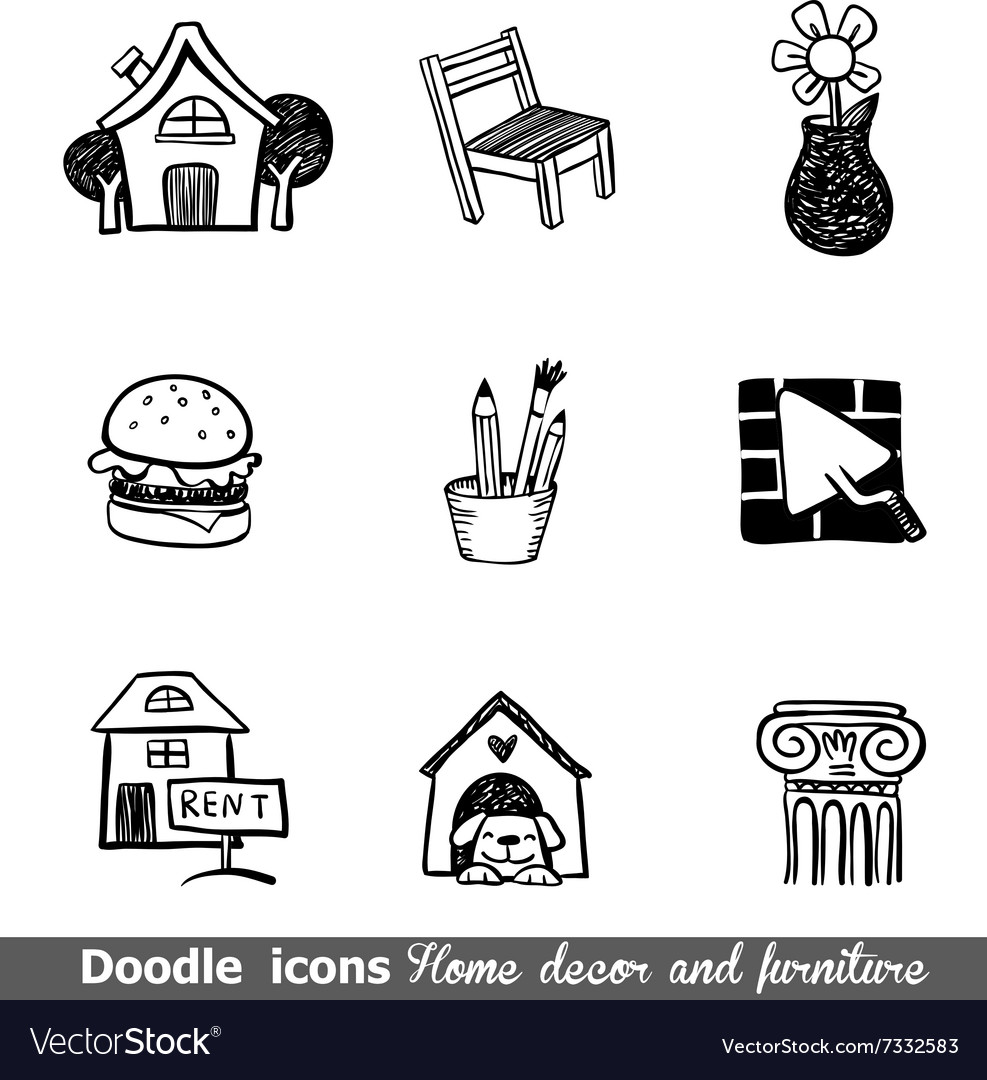 Home Decor Doodle Icon Set Royalty Free Vector Image