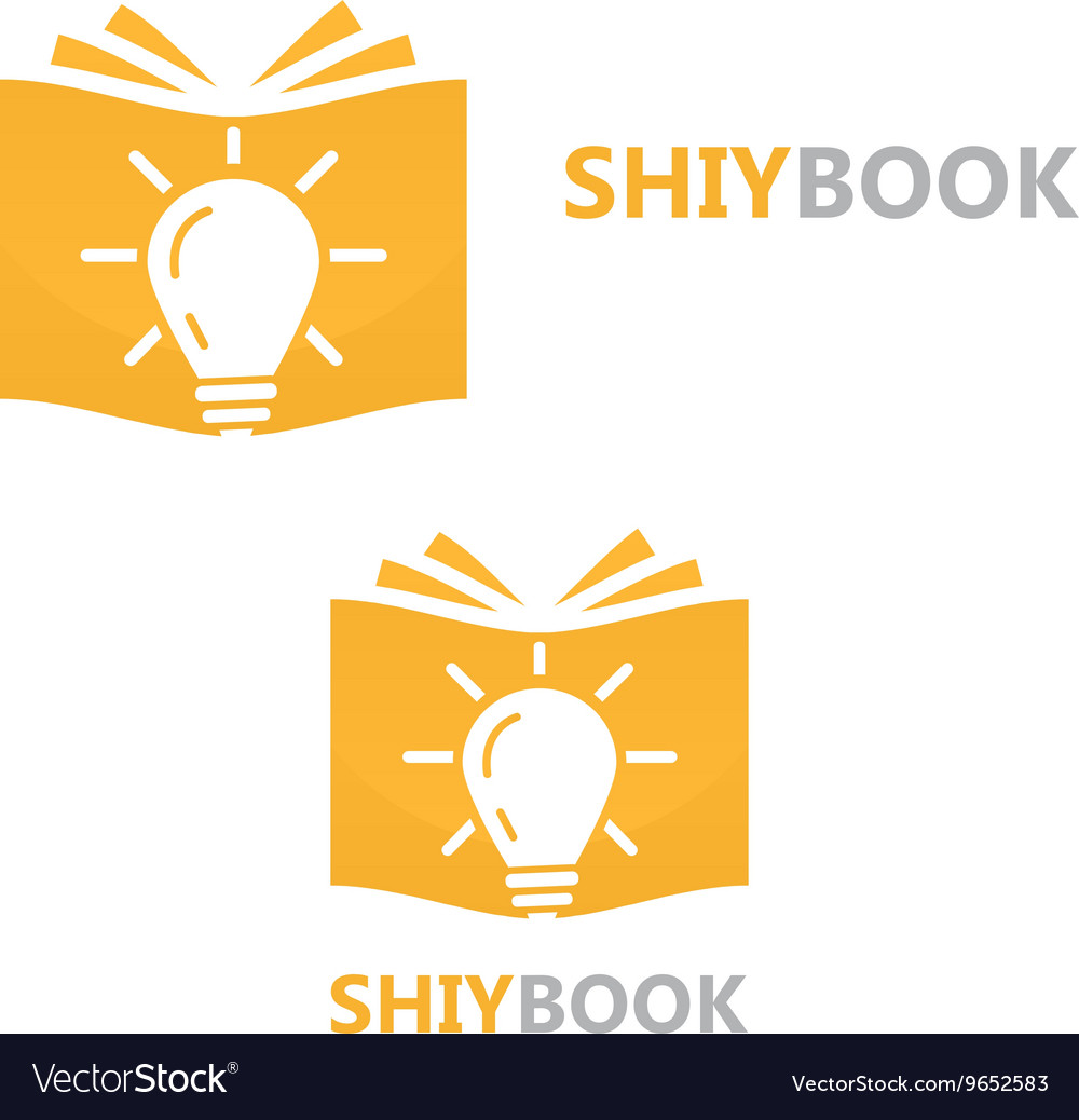 Logo combination of a book and light bulb