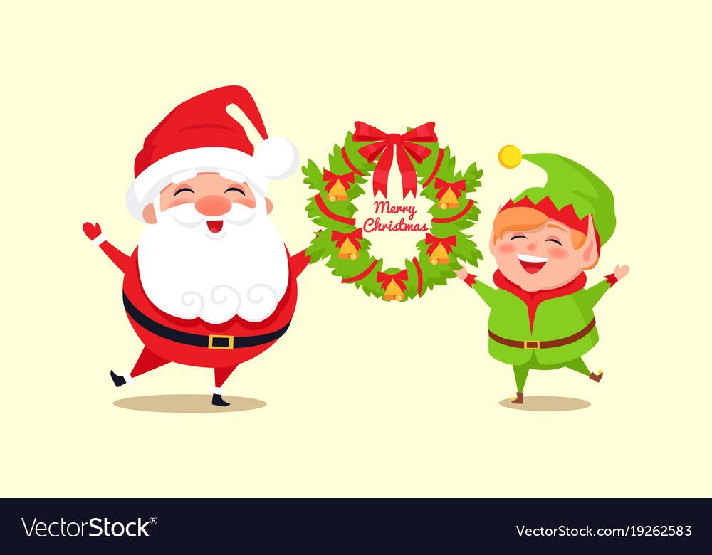 merry christmas congratulation from santa and elf vector image - Merry Christmas Elf