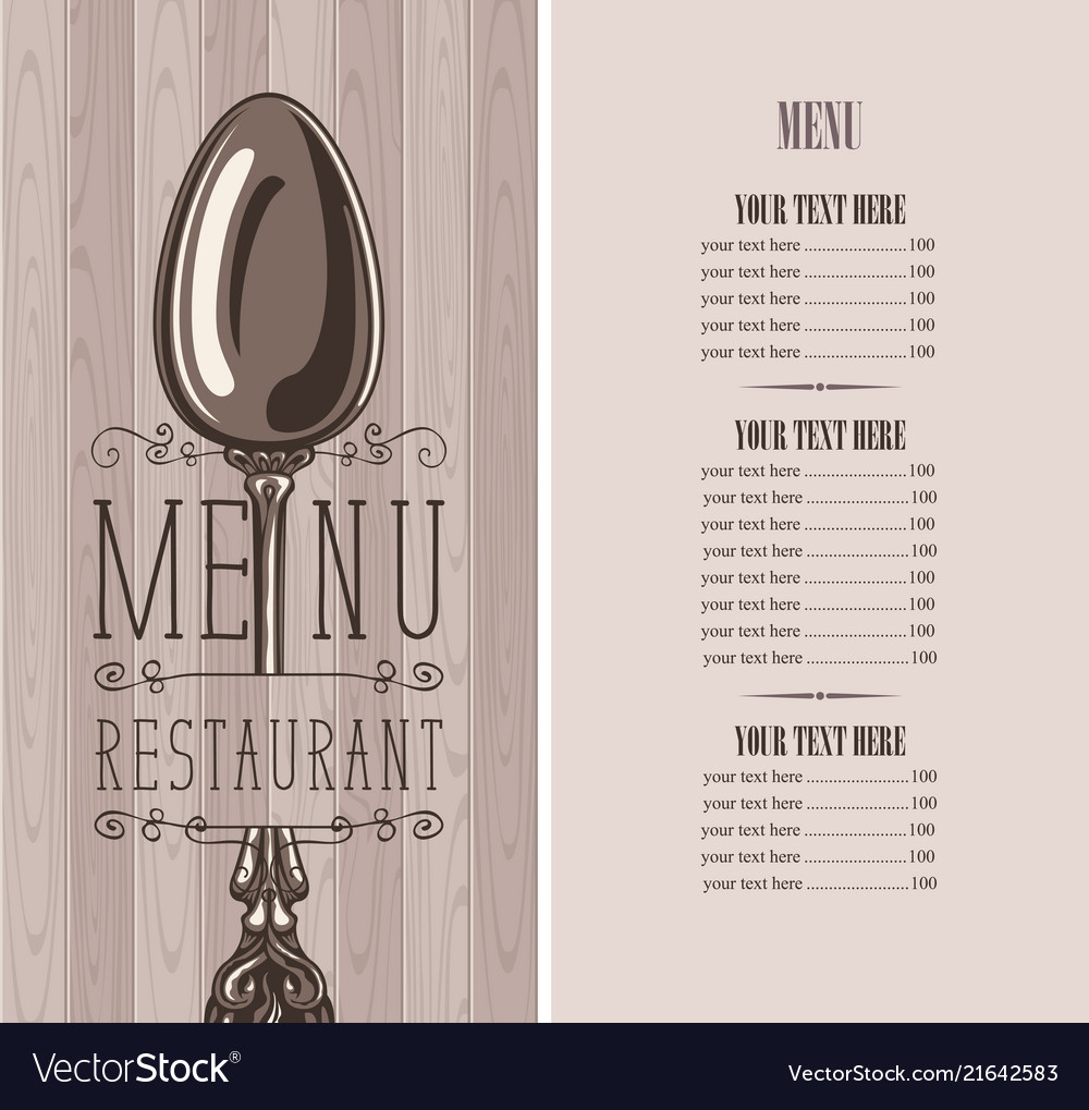 Restaurant menu with price list and silver spoon