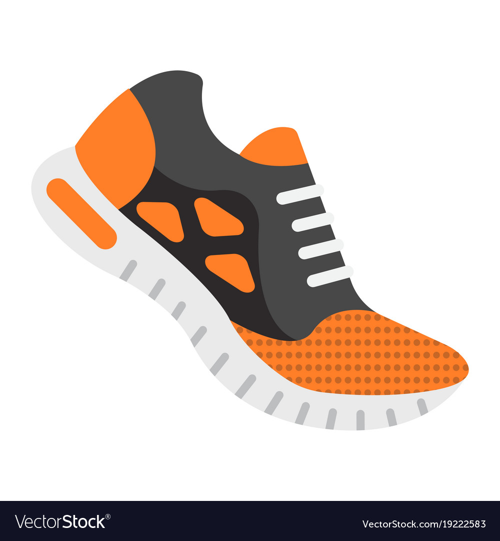 Running shoes flat icon fitness and sport