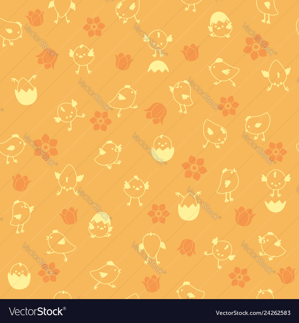 Seamless easter pattern with chicks and flowers