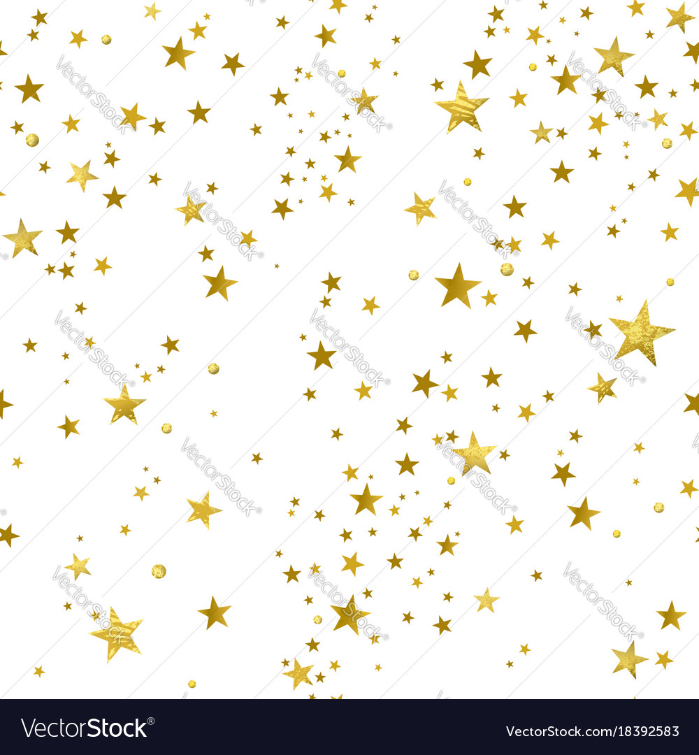 Seamless pattern of decorative gold stars