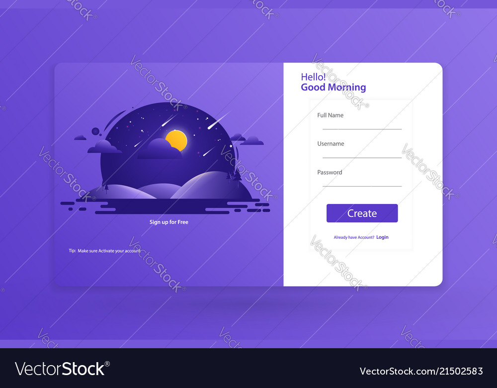 Sign Up Form Landing Page Design Template Concept Vector Image