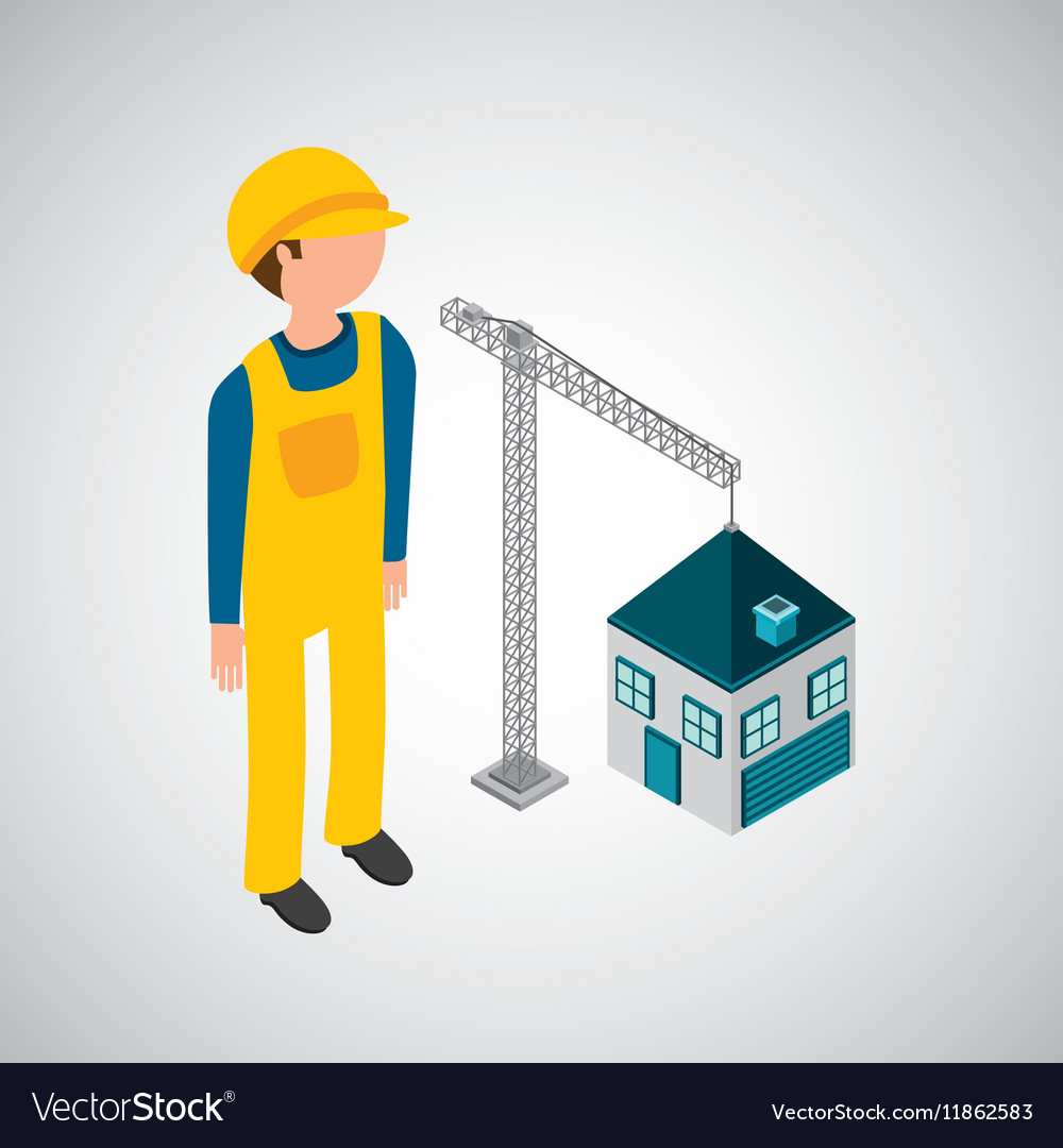 Under construction worker crane new house vector image