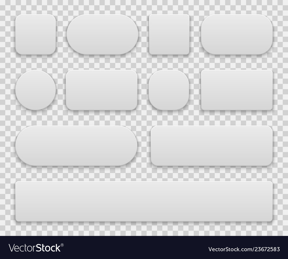 White buttons oval round rectangle circle square